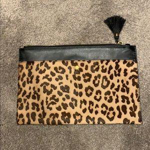 JCrew Leather and Calf Hair Clutch